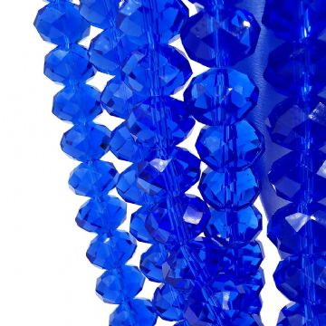 72 pcs x 10mm Glass Faceted Rondelle Royal Blue 008